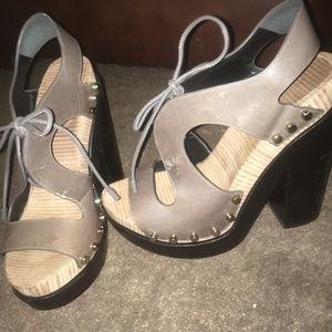 Brown Balenciaga lace up heels